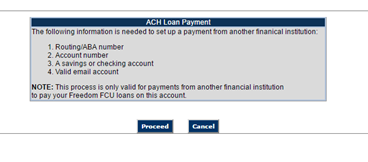 List of information required to make ACH Loan Payments