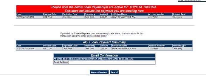 ACH loan payment verification screen