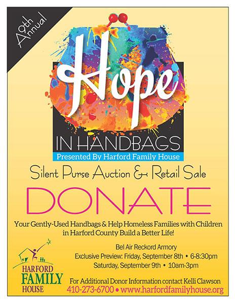 Hope in Handbage sale, Saturday, September 9 at Bel Air Armory