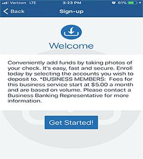 Mobile app check deposit enrollment welcome